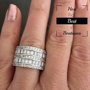 Sterling Silver Diamond Wide Band Ring